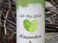 Hochzeitskerze Fingerabdruck grün